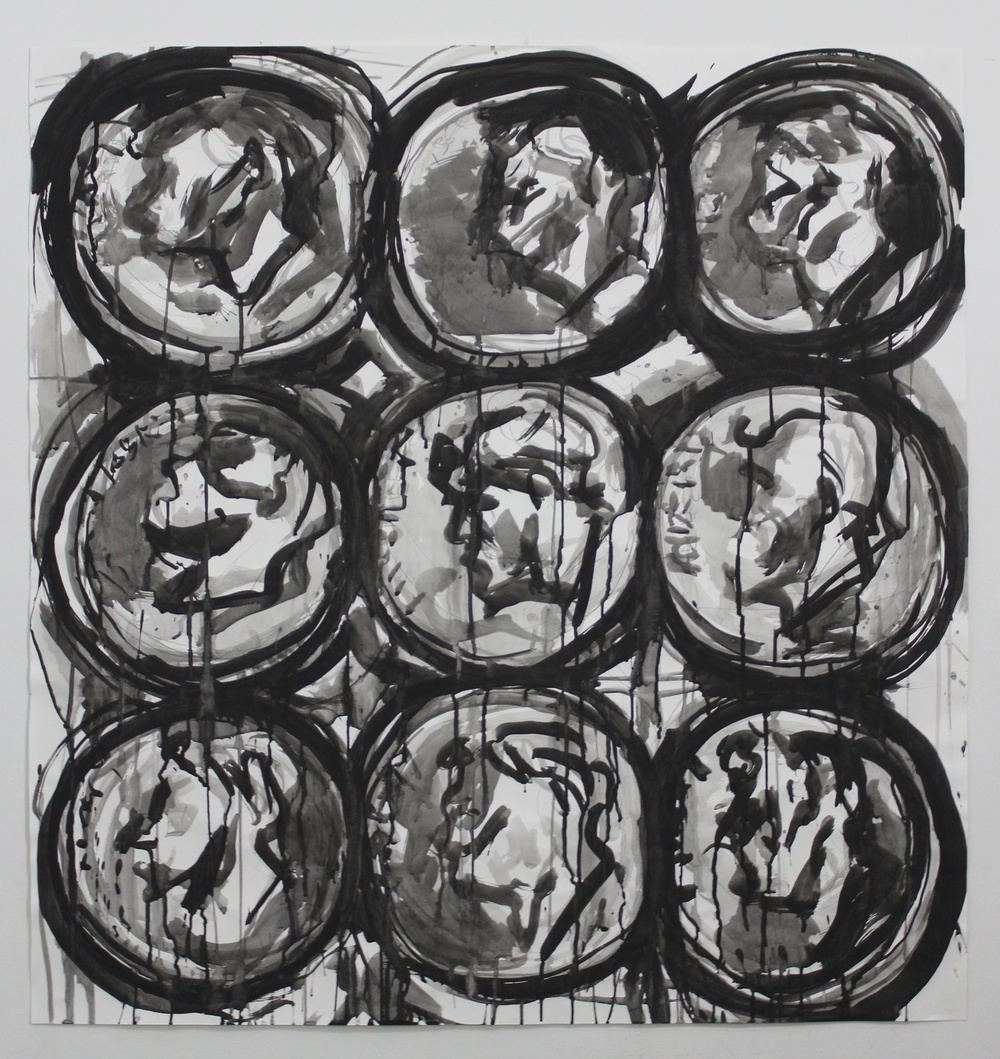 "Nine Dimes (B&W)  42""x40""  Ink and Graphite on Paper"