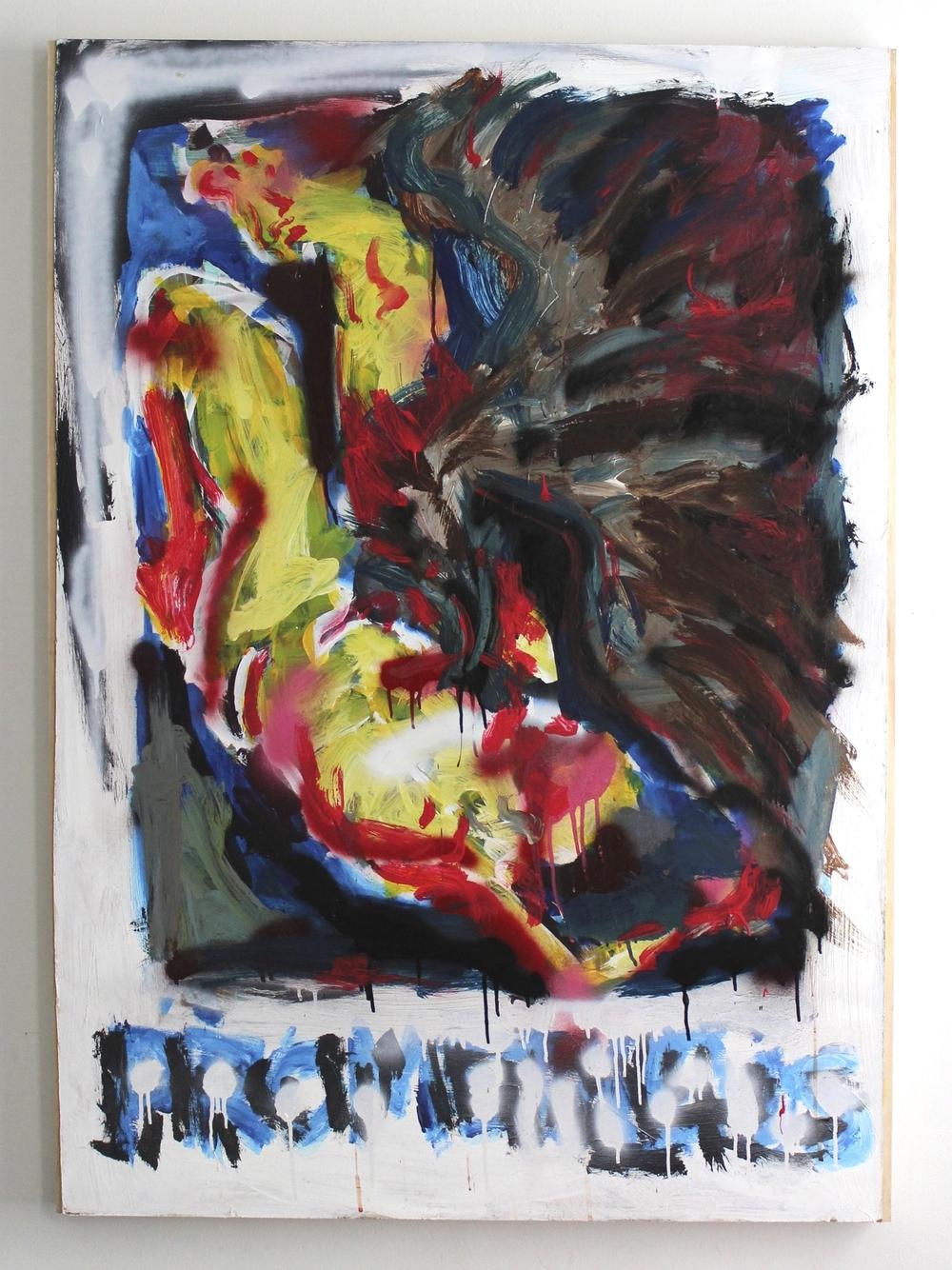 "Prometheus  35""x48""  Acrylicand spray paint on panel"