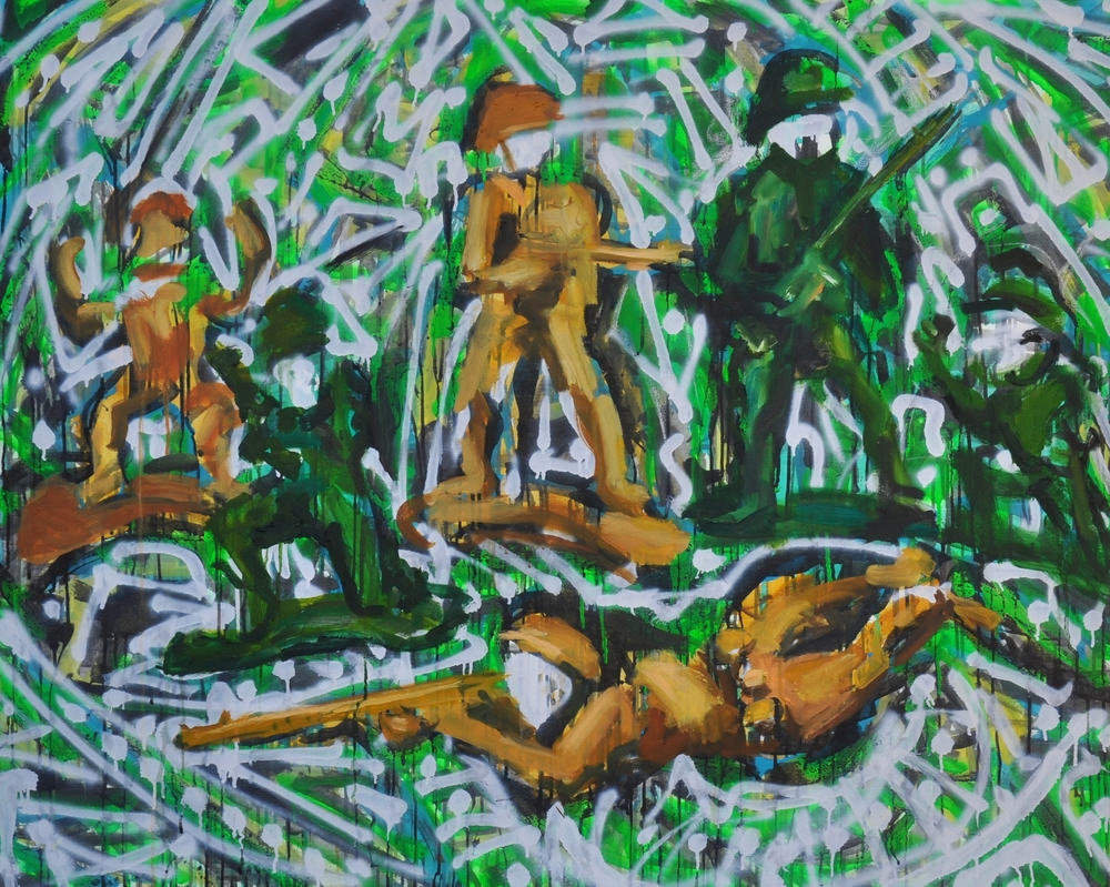 "Hybrid Soldiers  44"" x 55""  Oil, acrylic, ink and spray paint on stretched canvas"