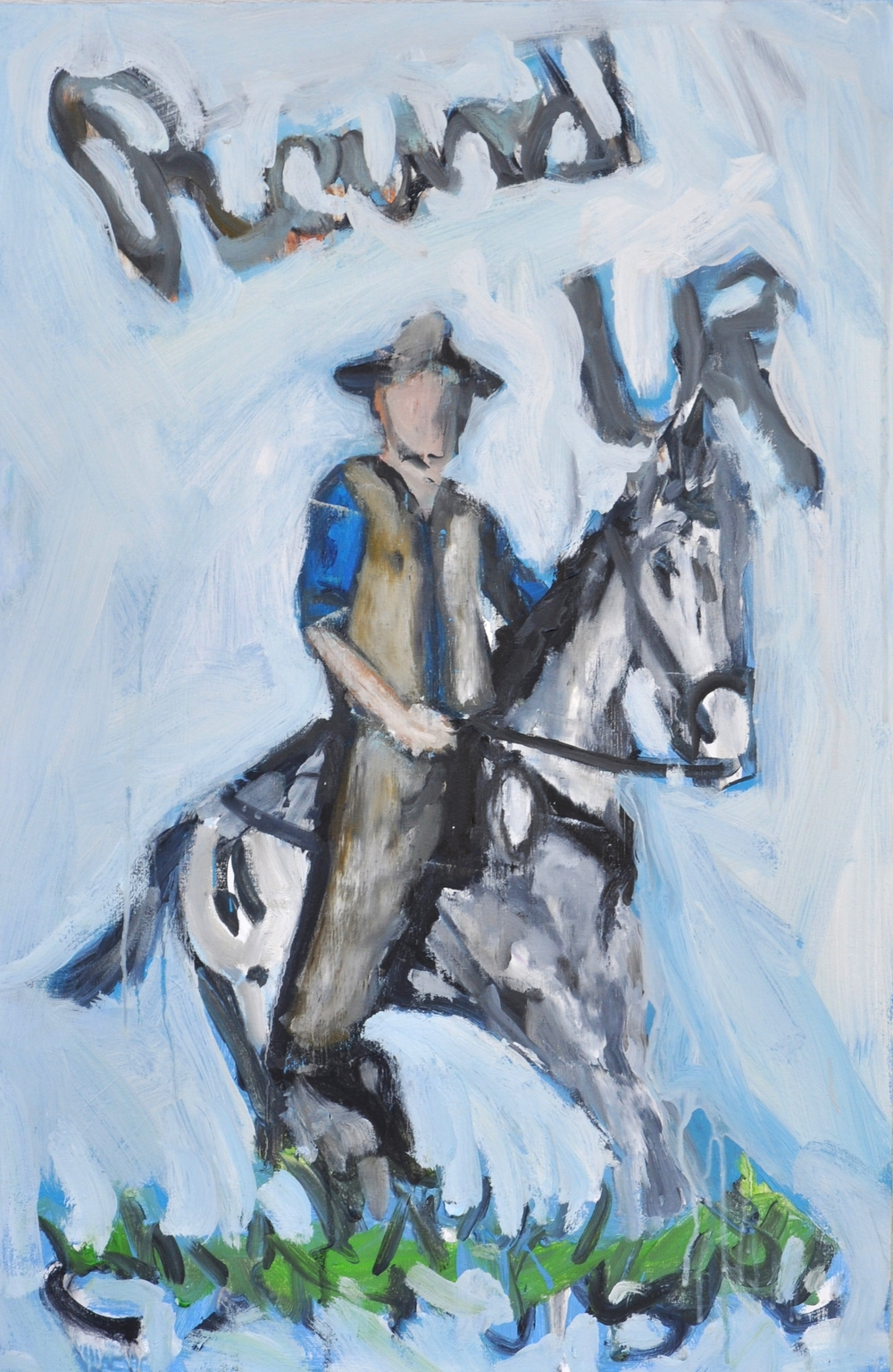 "Round Up  24"" x 36""  Oil an acrylic on stretched canvas"