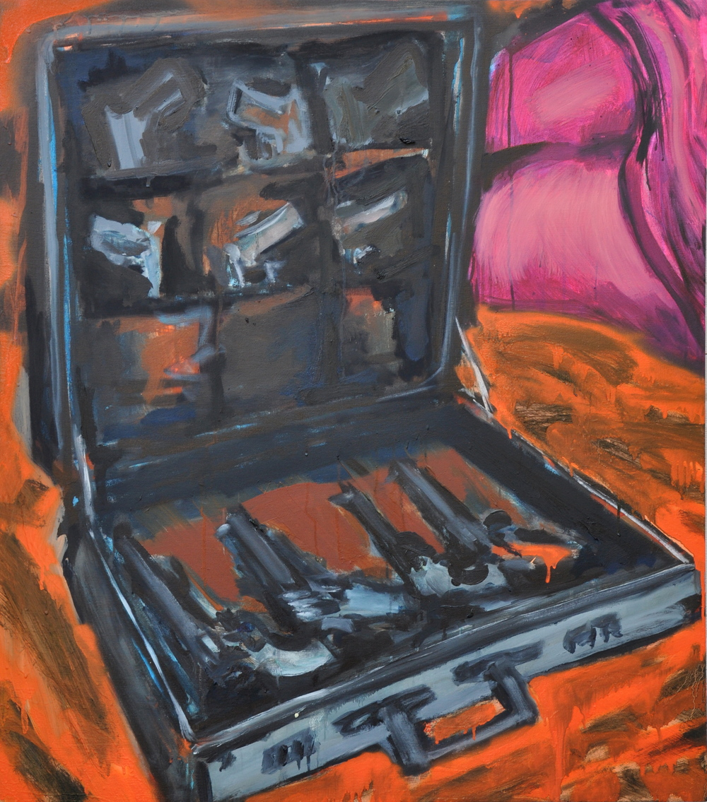 "Gun Suitcase (3)  42"" x 47""  Oil, acrylic, spray paint and ink on stretched canvas"