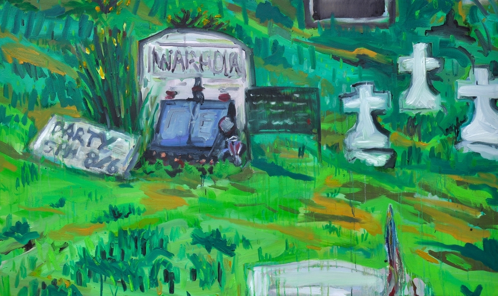 """Andy's Grave (Live! )  36"""" x 60""""  Oil, Acrylic and Ink on Stretched Canvas"""