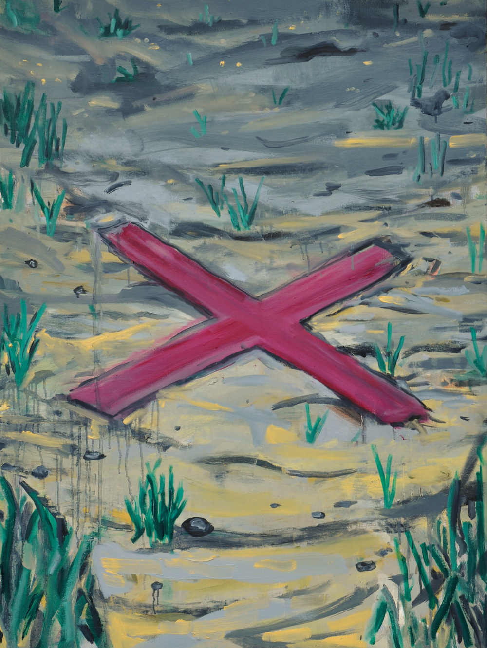 "X Marks the Spot  33"" x 40""  Oil on Canvas"