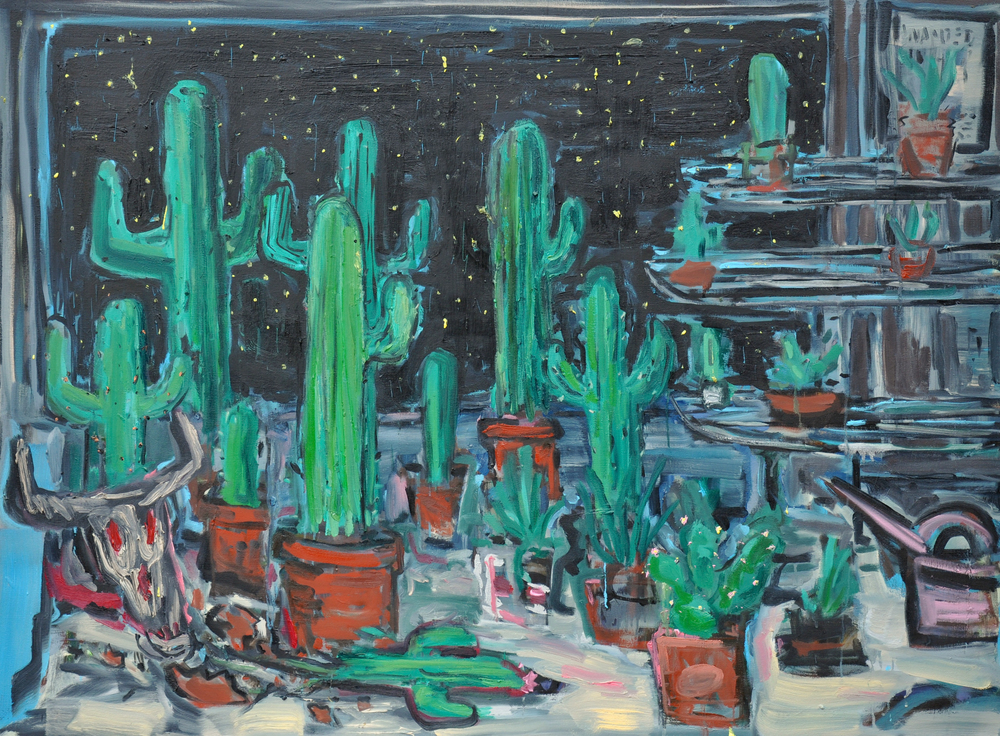 "Cactus Store  44"" x 64""  Oil on Canvas"