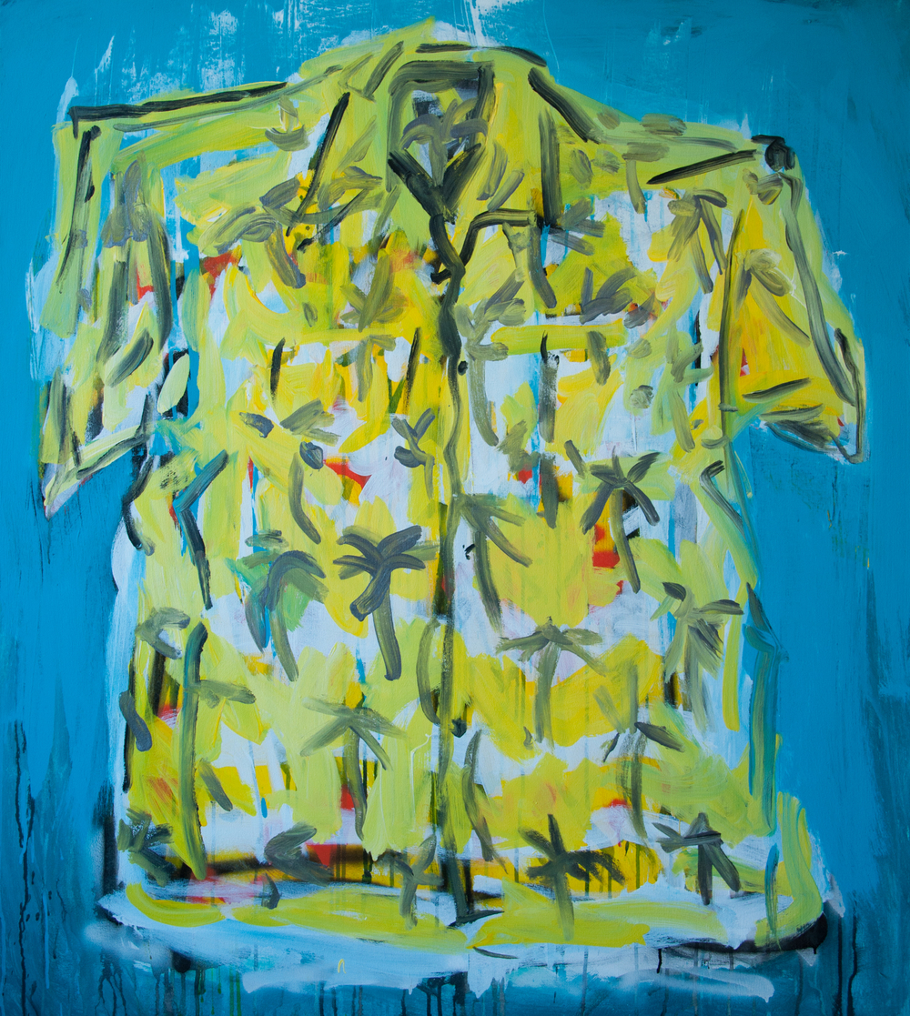 "Paradise (Pop's Shirt)  42"" x 47""  Acrylic, Ink and spray paint on canvas"