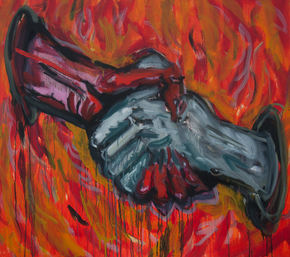 "Hand and Devil  42"" x 38""  Oil, Acrylic and Ink on Canvas"