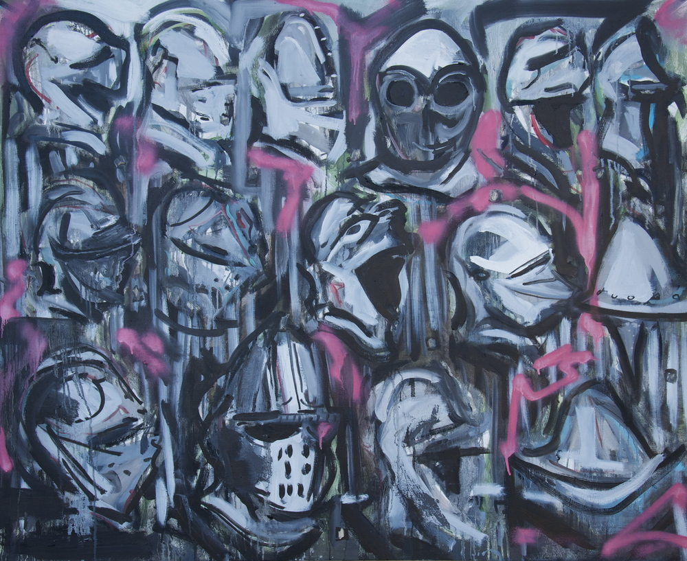 "Knight Helmet Display  55"" x 44.5""  Oil, Spraypaint, Acrylic and Ink on Stretched Canvas"