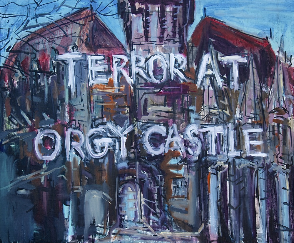 "Terror at Orgy Castle  44.5"" x 55""  Oil and Acrylic on Canvas"