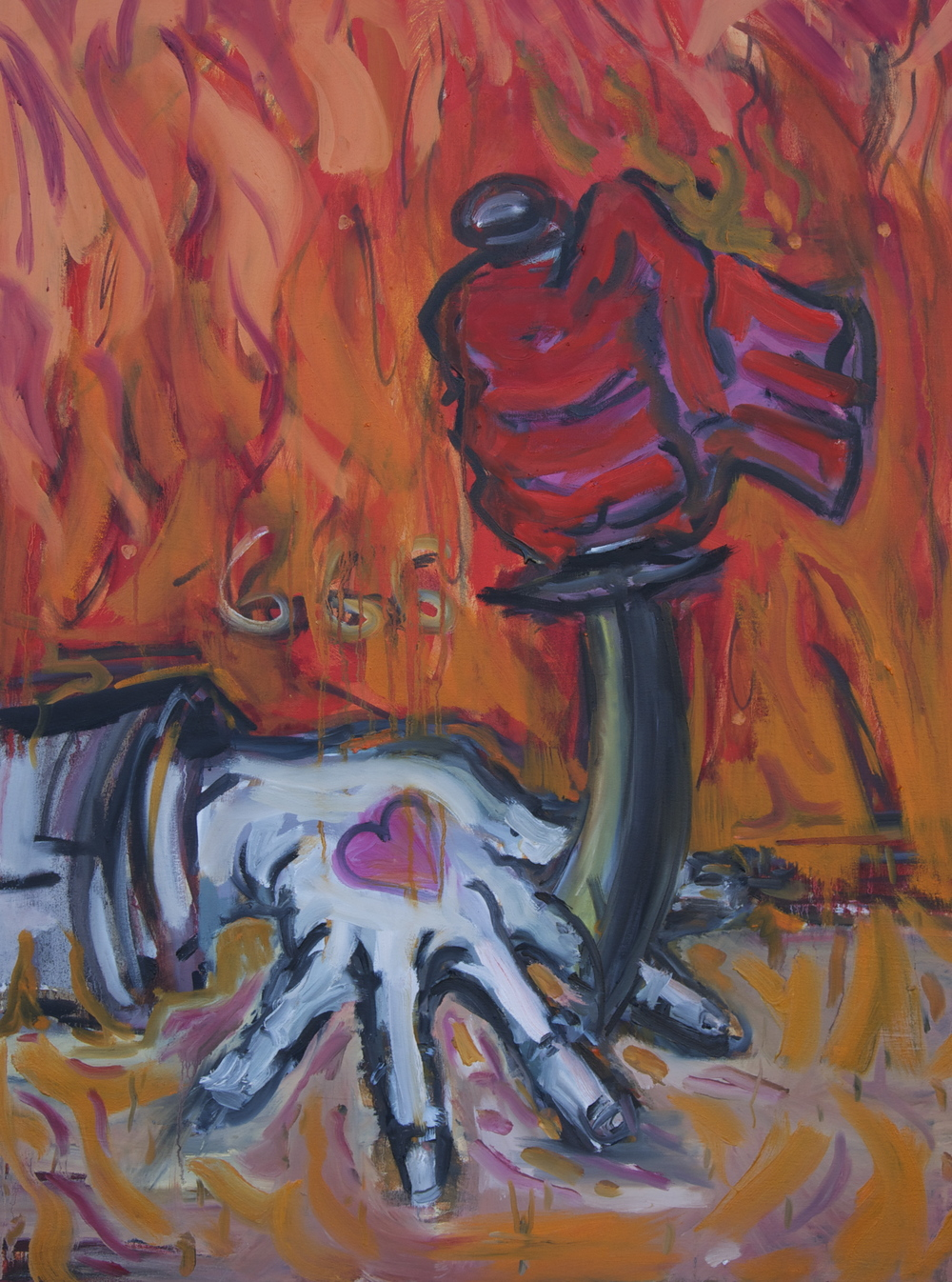 "Hand and Dagger (Playing a Game with the Devil)  Oil and Acrylic on Canvas  30"" x 40"""