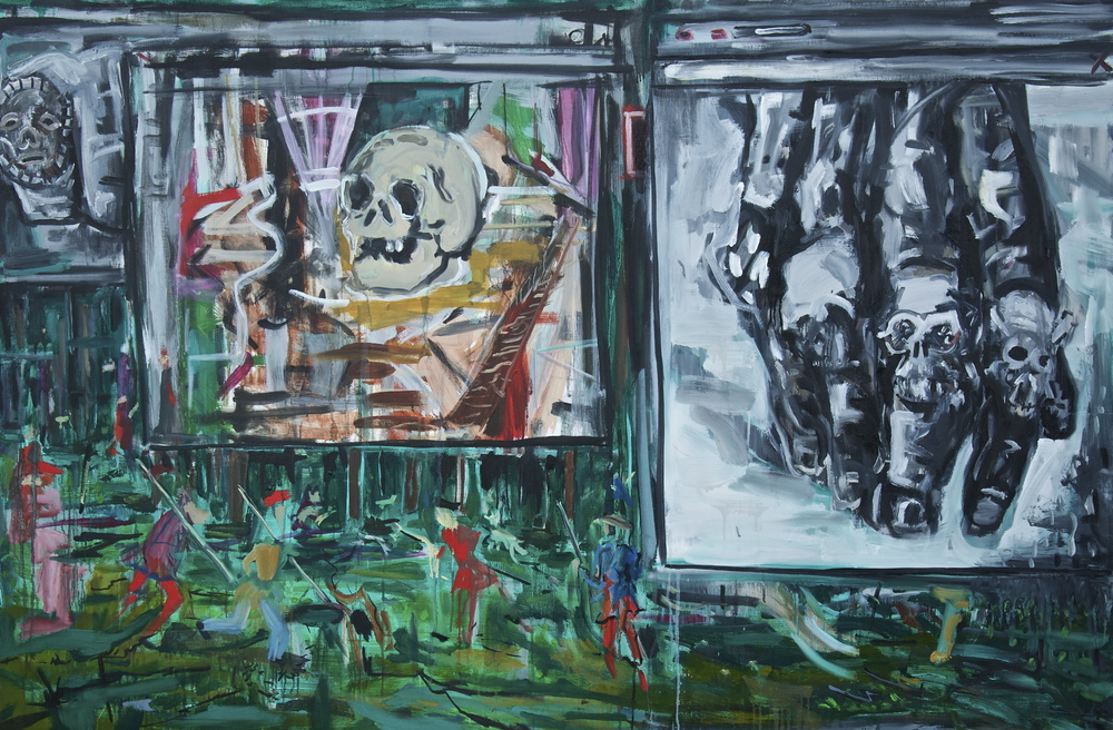 "Danse Macabre (Screenshot II)  Oil and Acrylic on Canvas  66.25"" x 44.5"""