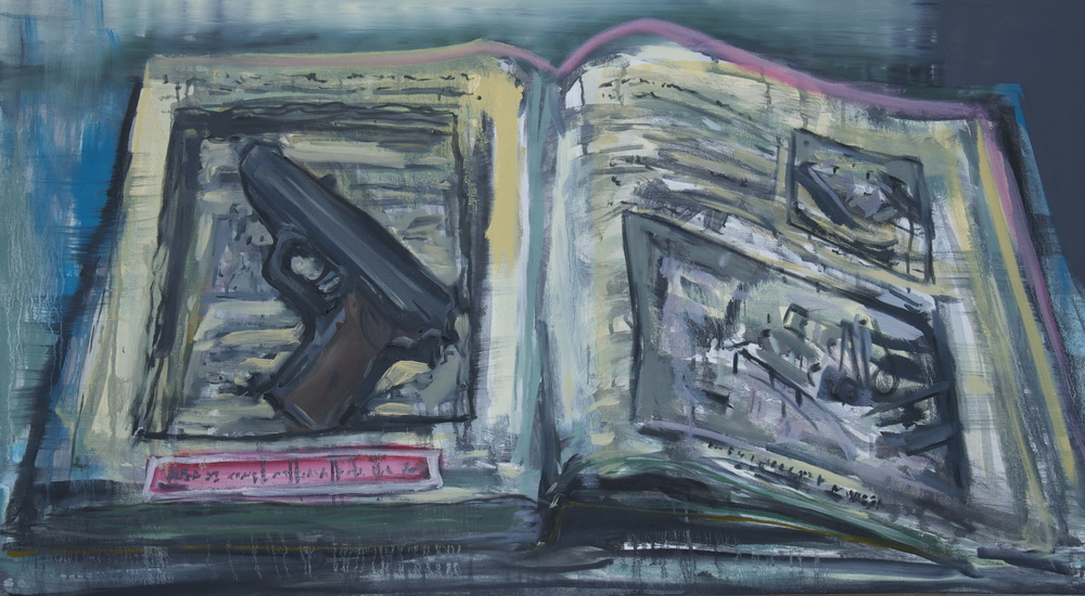 "Book and Gun (Jutland, 1941)  Oil on Canvas  29"" x 52"""