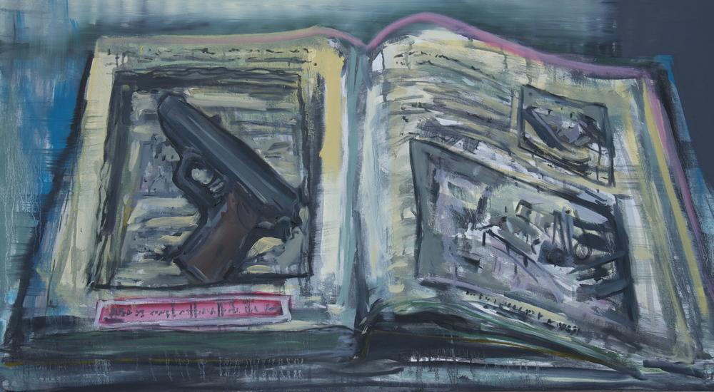 """Book and Gun (Jutland, 1941)  Oil on Canvas  29"""" x 52"""""""