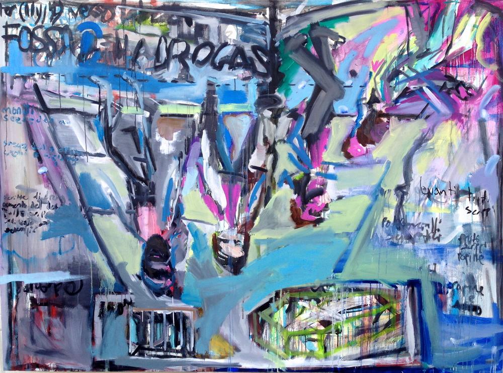 """Fossa Della Drogas  55"""" x 74.5""""  Oil and Acrylic on Canvas"""