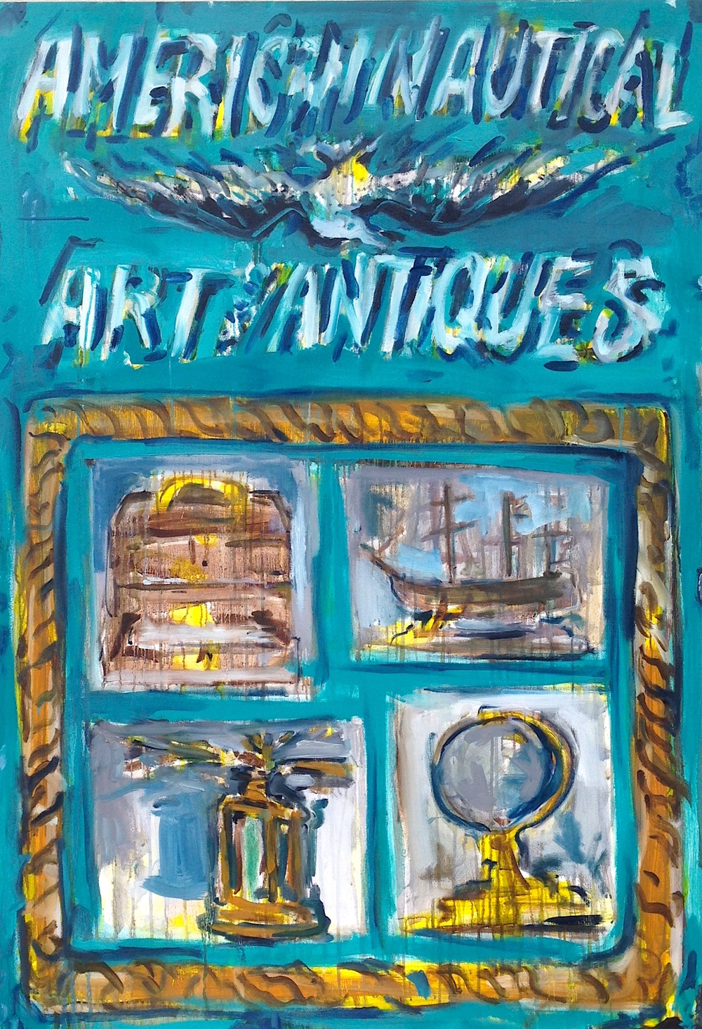 "American Nautical Art and Antiques  36.5"" x 48""  Oil, Acrylic and Ink on Canvas"