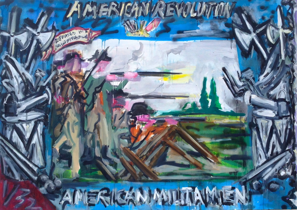 "American Revolution Militia Men  55"" x 75""  Oil, Acrylic and Spray Paint on Canvas"