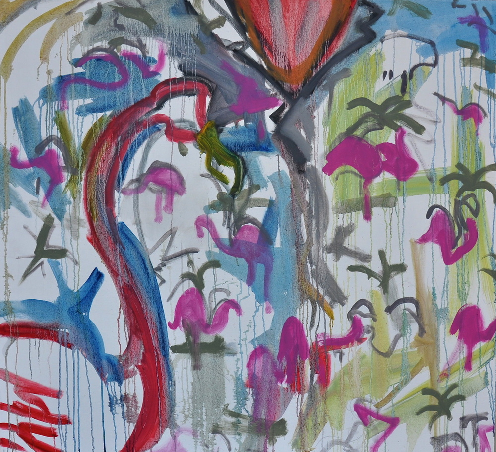 """Flamingo Fabric II  48"""" x 52 1/4""""  Oil and graphite on Canvas"""