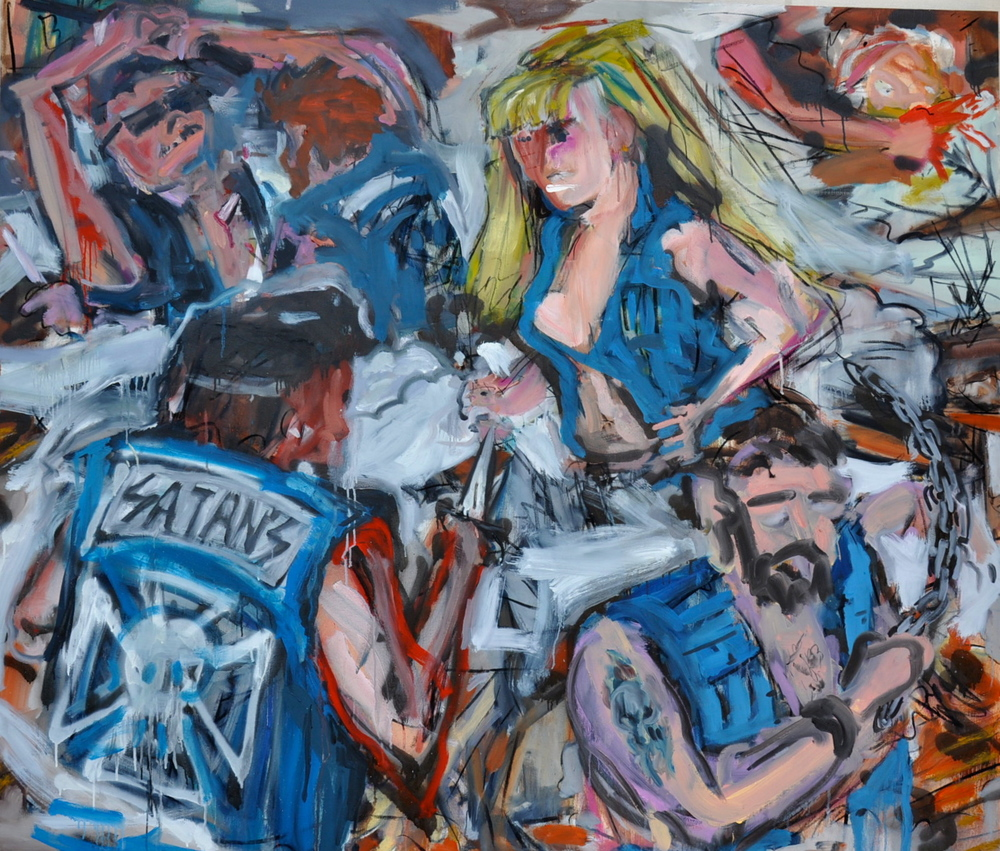 "Cult Motorcycle Brawl (A Good Ol' American Rumble)  55"" x 64""  Oil, Spray Paint and Charcoal on Canvas"