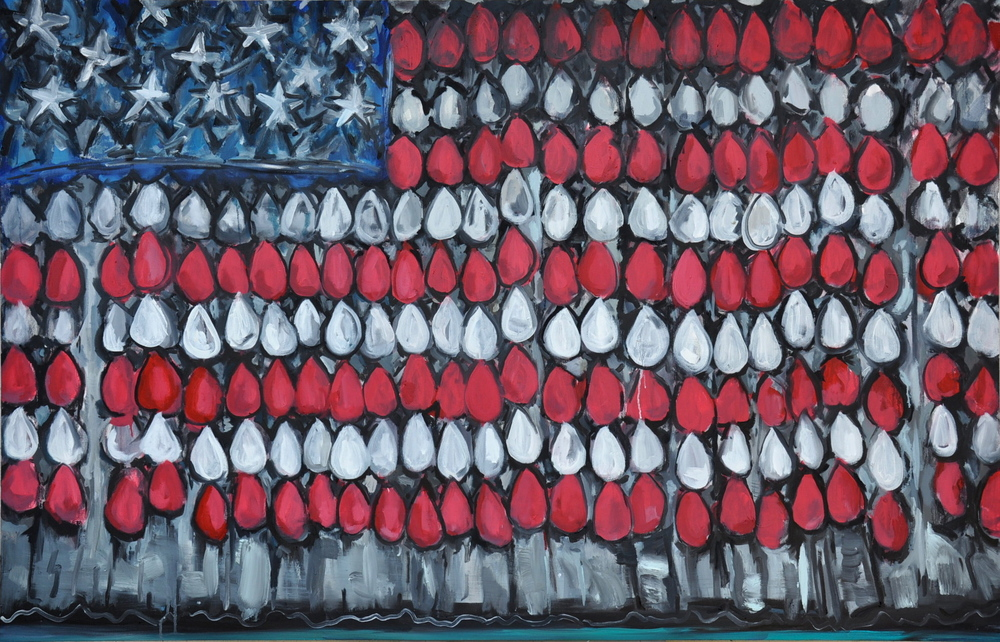 "Sad American Flag  64"" x 41""  Oil on Canvas"