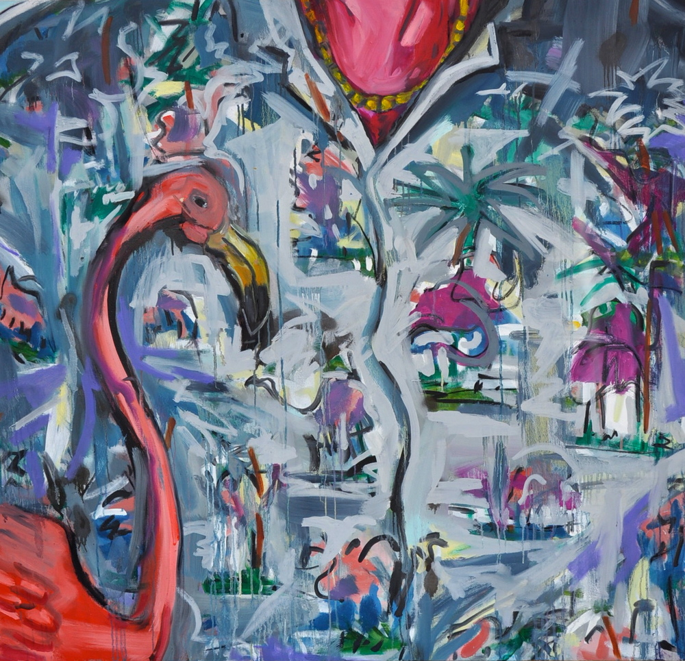 "Flamingo Fabric (#1)  48 3/16"" x 46""  Oil on Canvas"