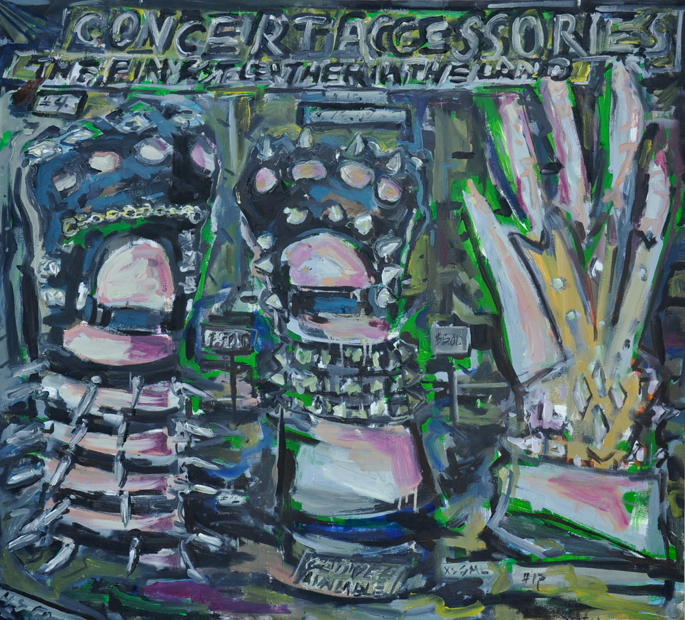 "Concert Accessories (Studded Glove Display)  42"" x 46 1/2""  Oil on Canvas"