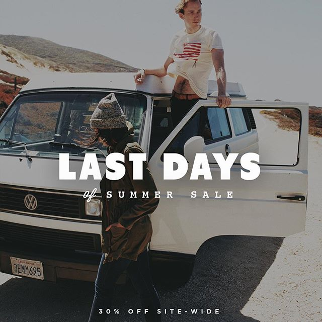 "whoa. we have exactly one month left of summer – which means one month left to get all the coastal trips, bbq's, sunshine, playing hooky, hopping fences, and all the good times & shenanigans that you can get in.  that ALSO means one full month to use the coupon code ""summerdeuces"" to save 30% off sitewide at our online store. bc we love summer & you that much. now get back to killin that summer before it's too late ✌️🌅. #youngandunited #americanmade #vscocam #bestcoast"