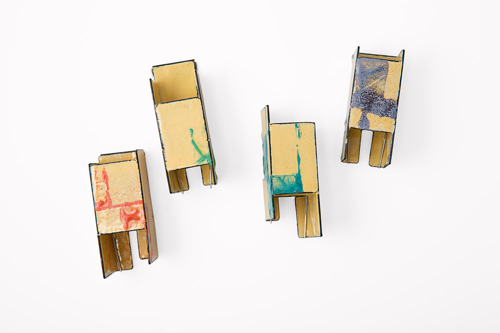 A Series Of Irregular Rectanglesr,  2014.   Enamel, mild steel and stainless steel.   Photo by Ken Arini Photography.