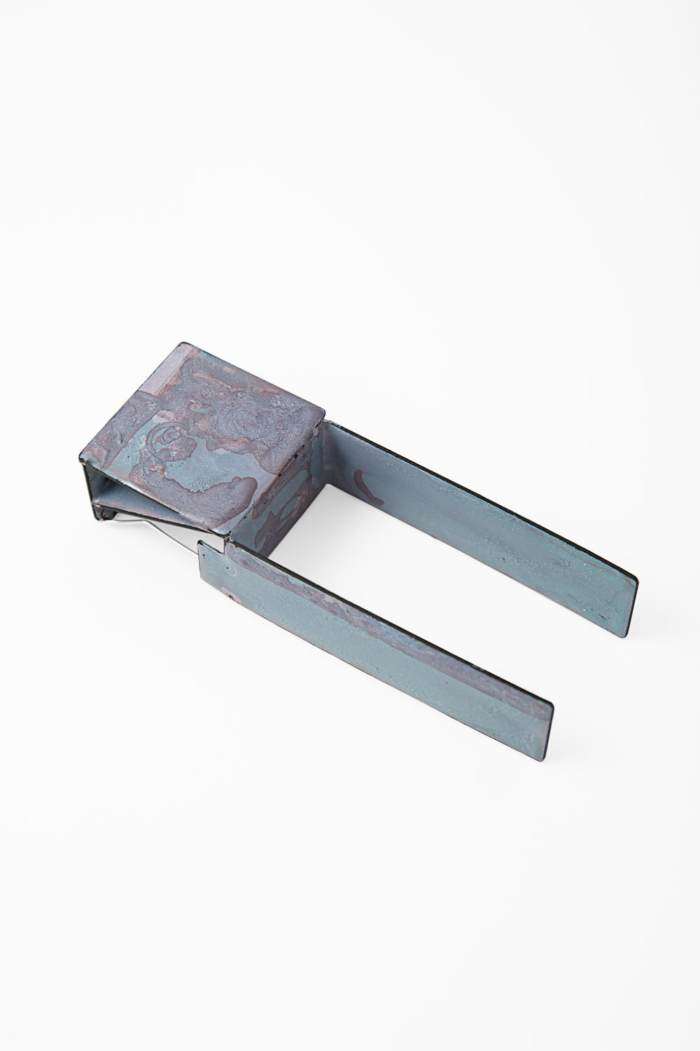 A Square With Legs,  2014.   Enamel, mild steel and stainless steel.   Photo by Ken Arini Photography.