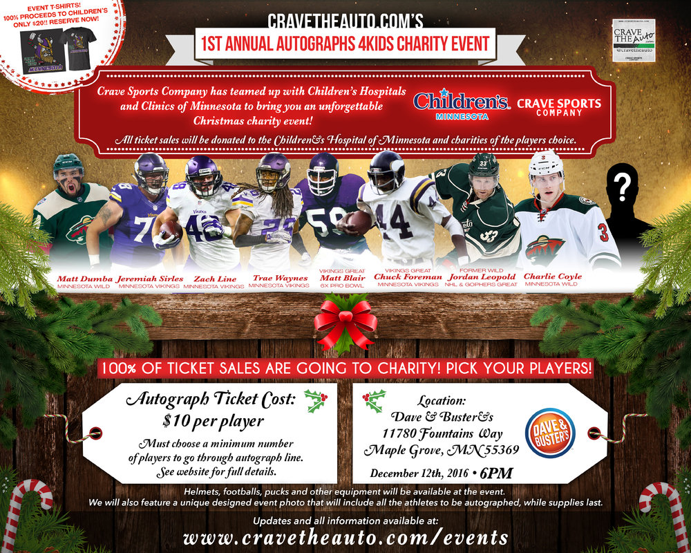 Autographs 4Kids Event! Dec.12th!!