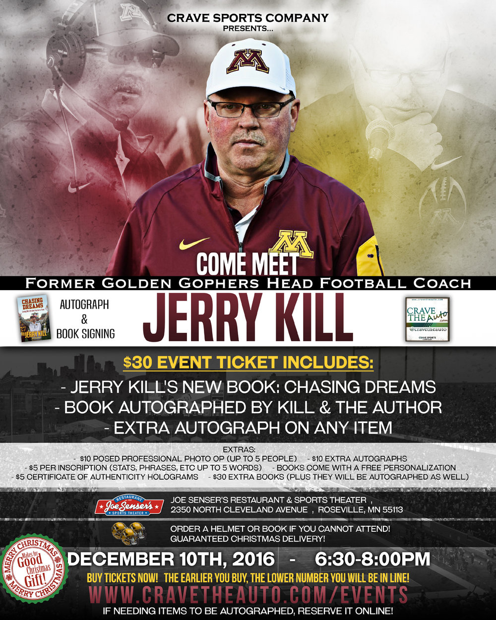 Jerry Kill Autograph & Book Signing! Dec. 10th!!