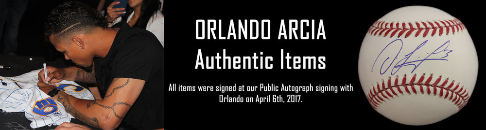Click here to see autographed items from Orlando Arcia for sale!