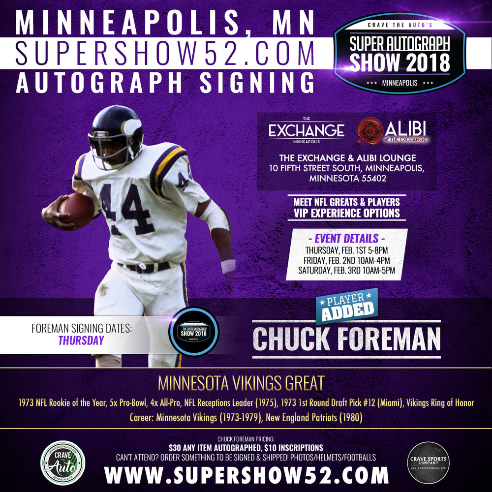 Chuck will also be signing at least one more day TBA