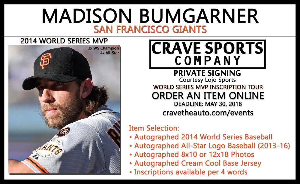 Click for Bumgarner Autograph Signing  Order something to be autographed and sent to you!