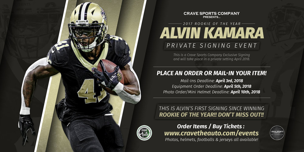 Alvin Kamara Signing - Click for details!!  PLACE YOUR ORDER TODAY!!