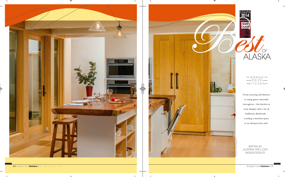 Two page spread of the Grand Prize Kitchen