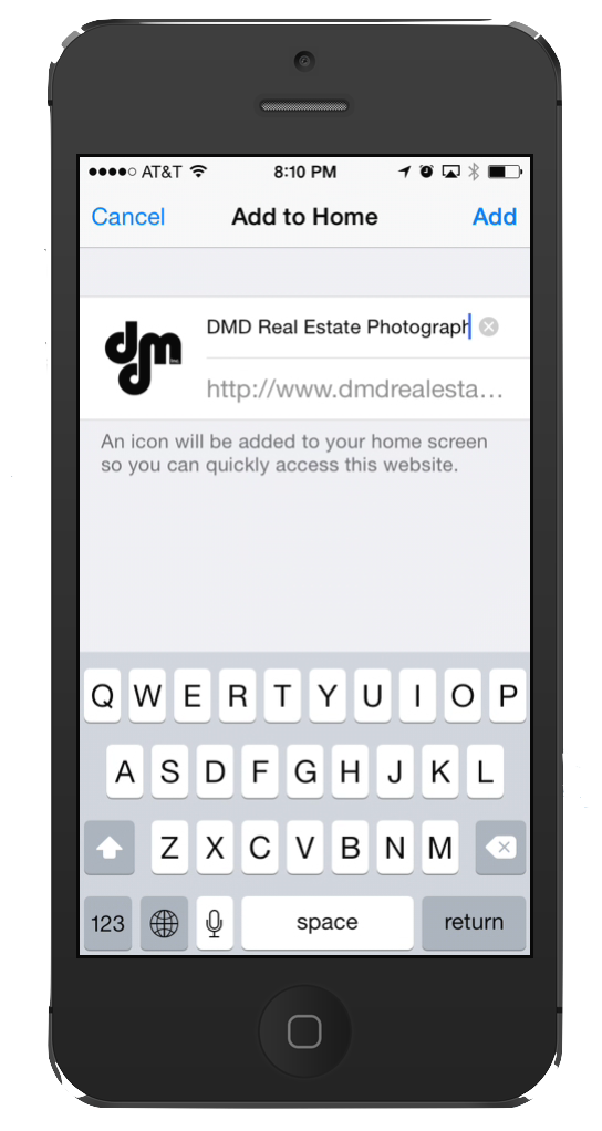 "Give your new ""app"" a name , such as DMD Real Estate Photography or whatever you choose"