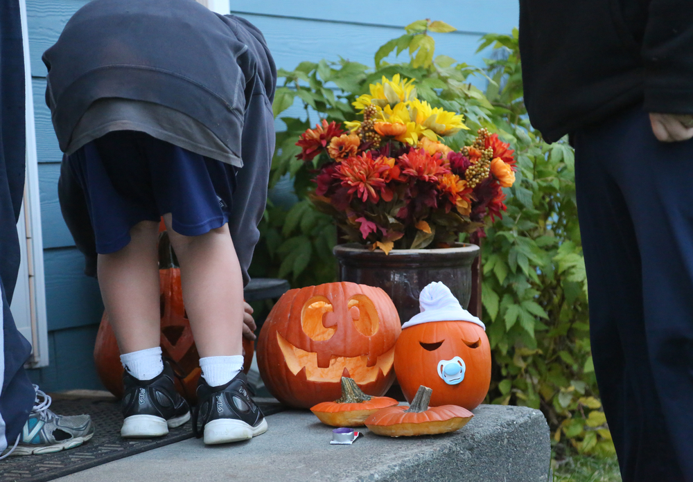 Dayton, age 8, ensures that his rather large pumpkin is in good view of the camera.