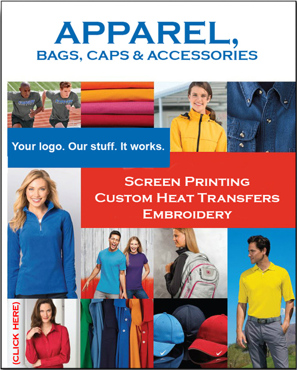 Custom decorated apparel catalog, promotional products, screen printing, embroidery.
