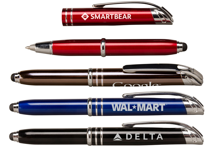 Custom imprinted metal pens with stylus and flashlight