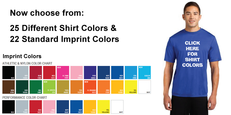 Custom imprinted Dri-Fit T-shirts, cheap.