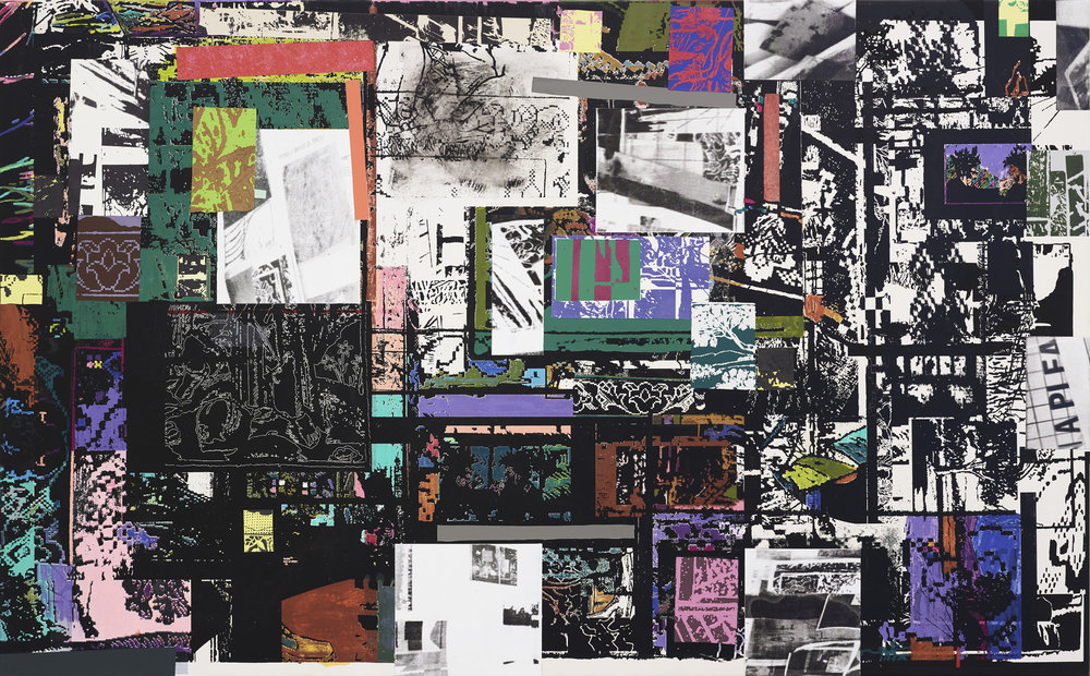 Table Top Still Life (Residuum 2), 2018 Acrylic and silkscreen ink on canvas 78 x 48 inches