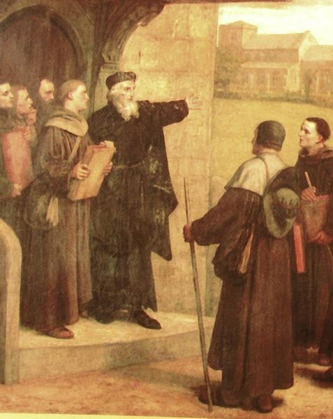 John Wycliffe delivers his Bible. Painting by William Frederick Yeames [Public domain], via Wikimedia Commons.