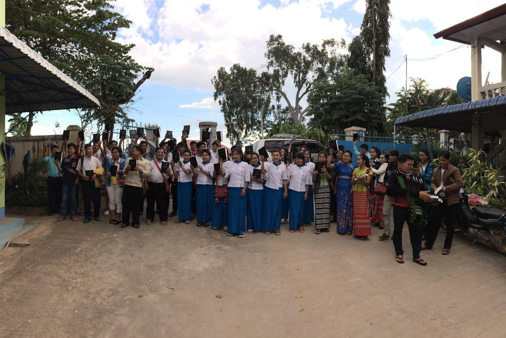 Lahu believers receiver their first Bibles, November 2017