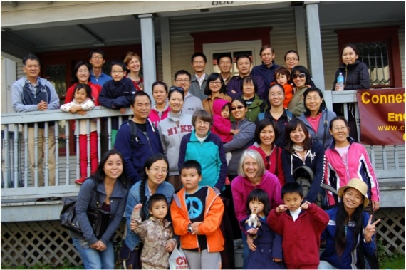 International students and their families prepare for an outing