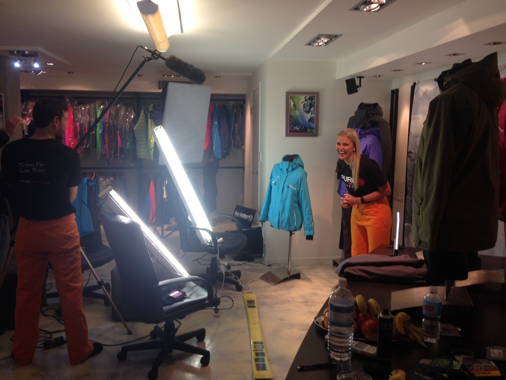 Amber having fun on-set of the upcoming 2015 product launch videos