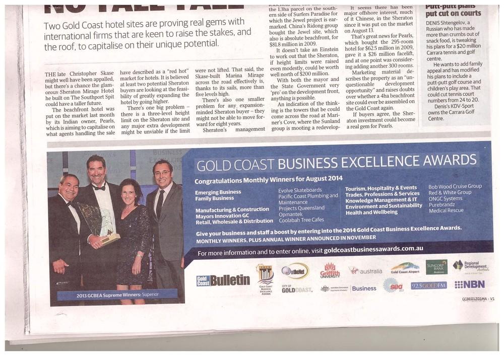 Gold Coast Bulletin announcement Monday September 1, 2014