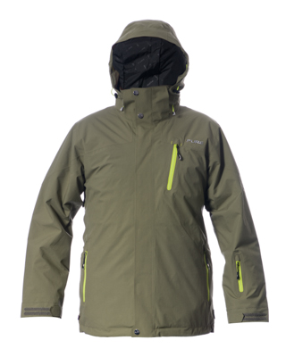 Telluride Men's Jacket - Khaki / Lime Zips