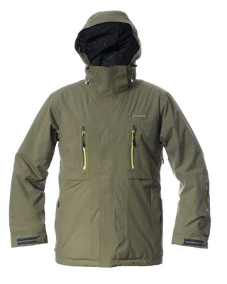 Niseko Men's Jacket - Khaki / Lime Zips