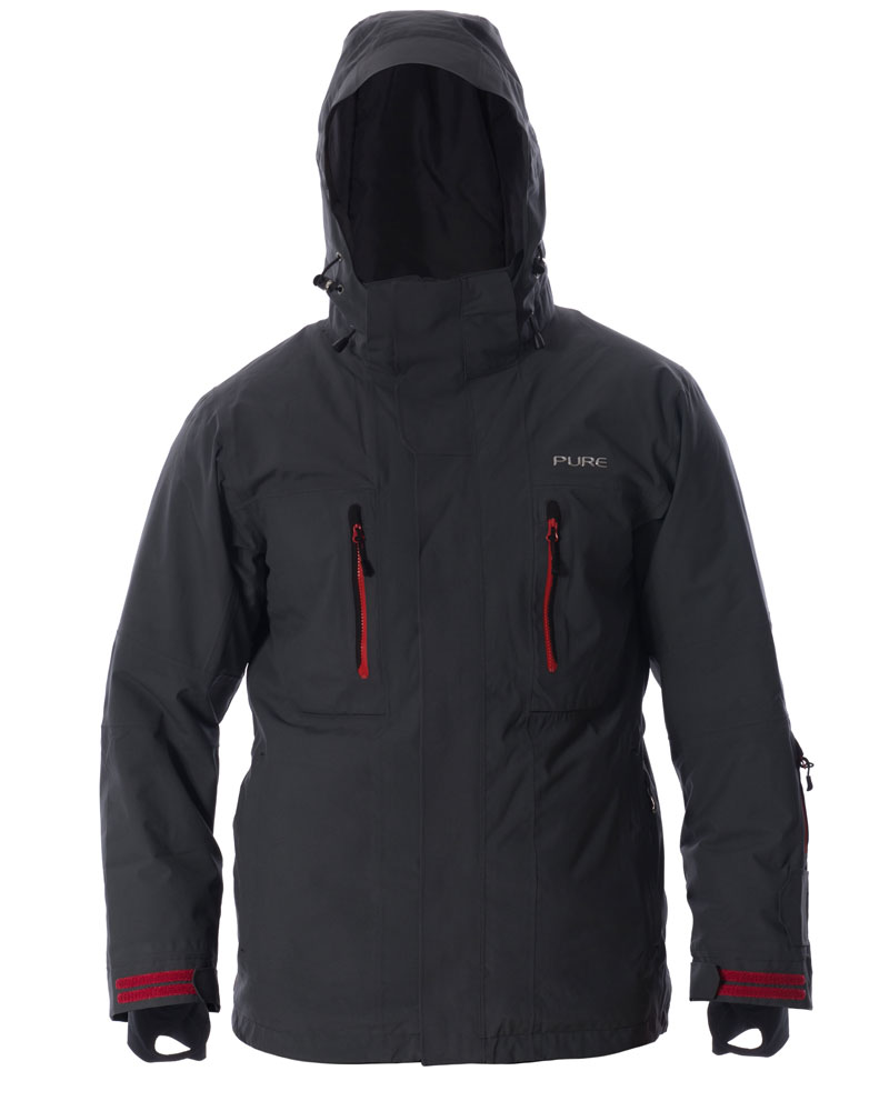 Niseko Men's Jacket - Ebony / Red Zips