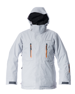 Niseko Men's Jacket - Silver / Orange Zips