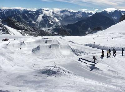 The snowpark at Hintertux, in the Austrian Tirol